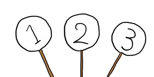 1〜3までの数字を書いた札